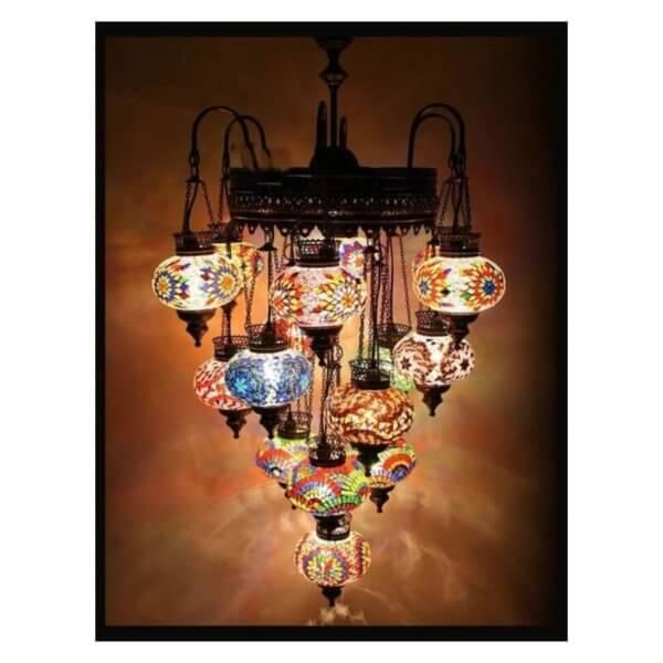 Orientalische Lampe Multicolour 16 Kugeln