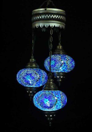 Orientalische Lampe Blau 3 Kugeln einfach und bequem kaufen