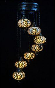 Orientalische Lampe braun 7 Kugeln - Oriental Plaza