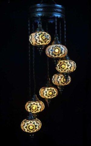 Orientalische Lampe Braun 7 Kugeln einfach und bequem kaufen