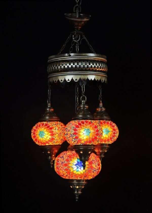 Orientalische Lampe Multicolour 4 Kugeln einfach und bequem kaufen
