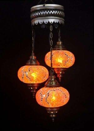 Orientalische Lampe Orange 3 Kugeln einfach und bequem kaufen