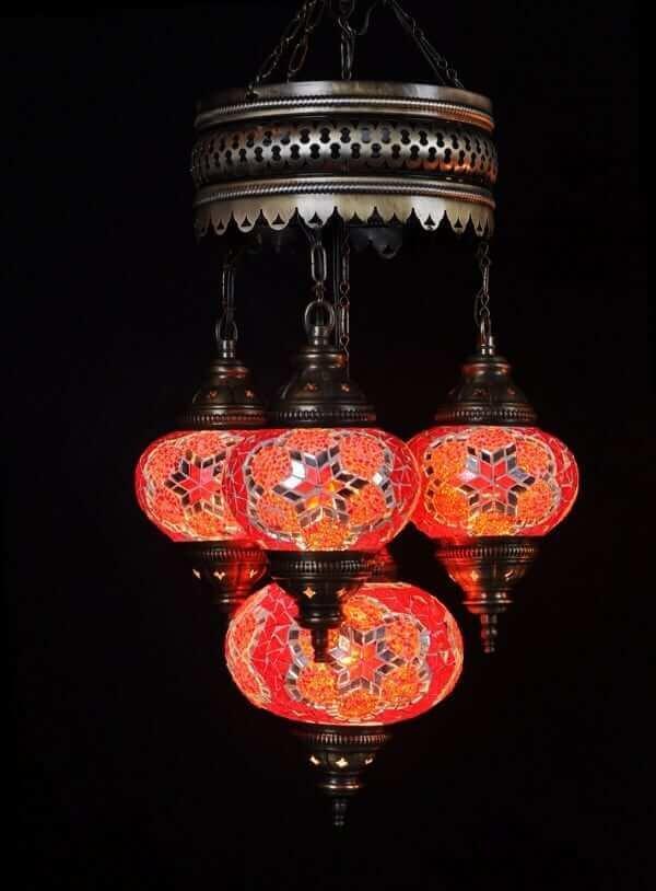 Orientalische Lampe rot 4 Kugeln - Oriental Plaza