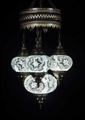 Orientalische Lampe Weiß 4 Kugeln einfach und bequem kaufen