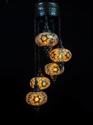Orientalische Lampe 5 kugeln Braun