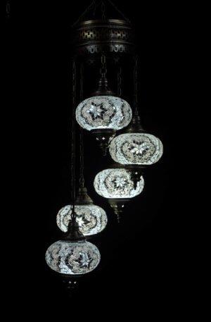 Orientalische Lampe 5 kugeln Weiss
