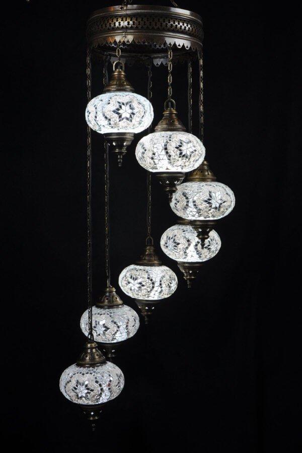 Orientalische Lampe 7 kugeln Weiss