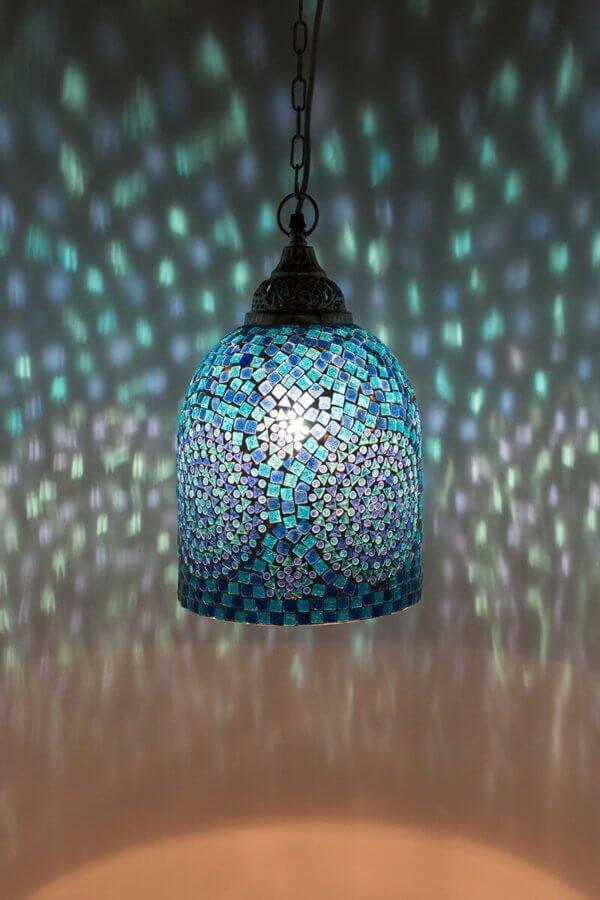 Mosaik Hängelamp Blau Jaipur brennend