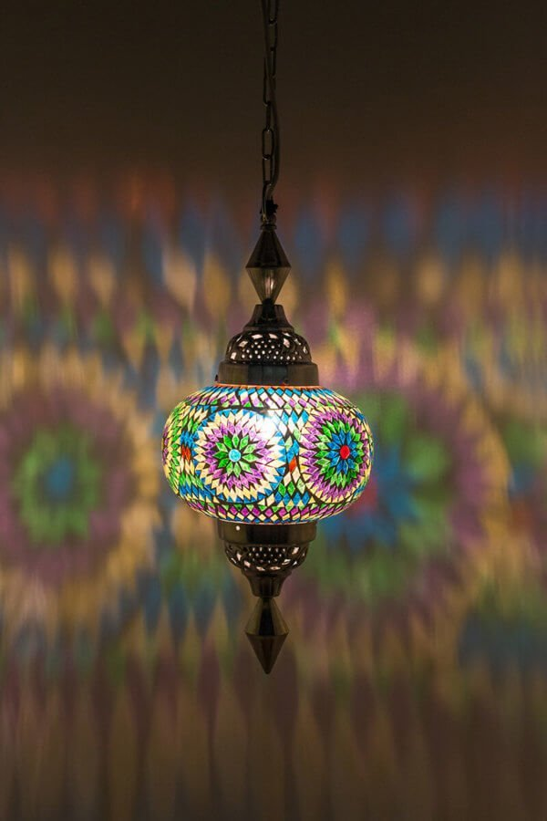 Mosaik Hängelampe Multicolour Gaya brennend