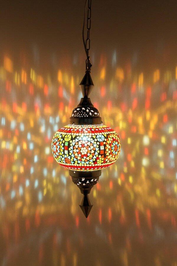 Mosaik Hängelampe Multicolour Gaya classic brennend