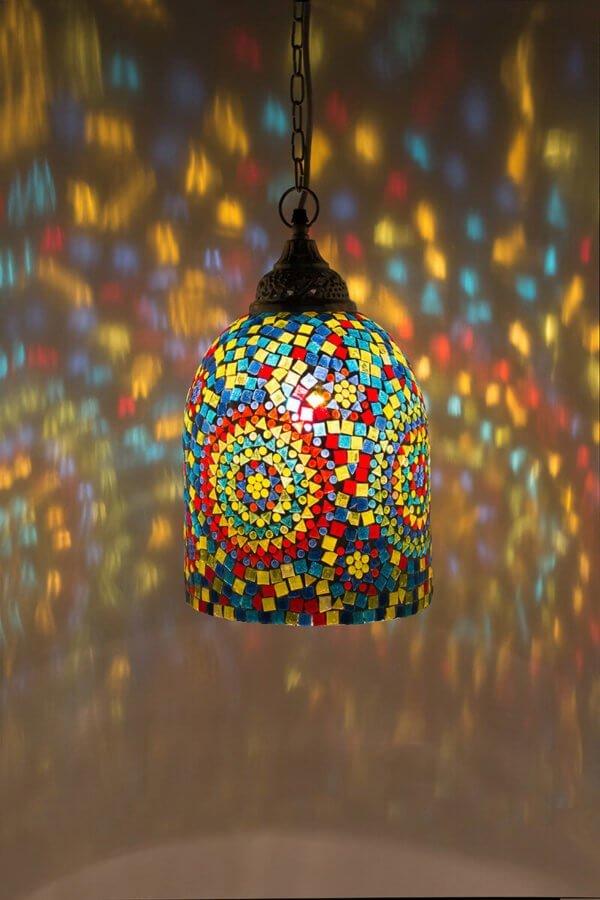Mosaik Hängelampe Multicolour Jaipur brennend