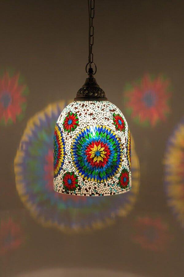 Mosaik Hängelampe Multicolour Weiss Jaipur brennend