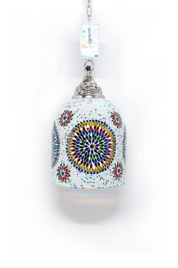 Mosaik Hängelampe Multicolour Weiss brennend