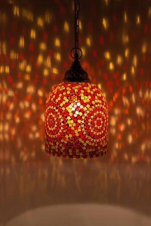 Mosaik Hängelampe Orange Jaipur brennend