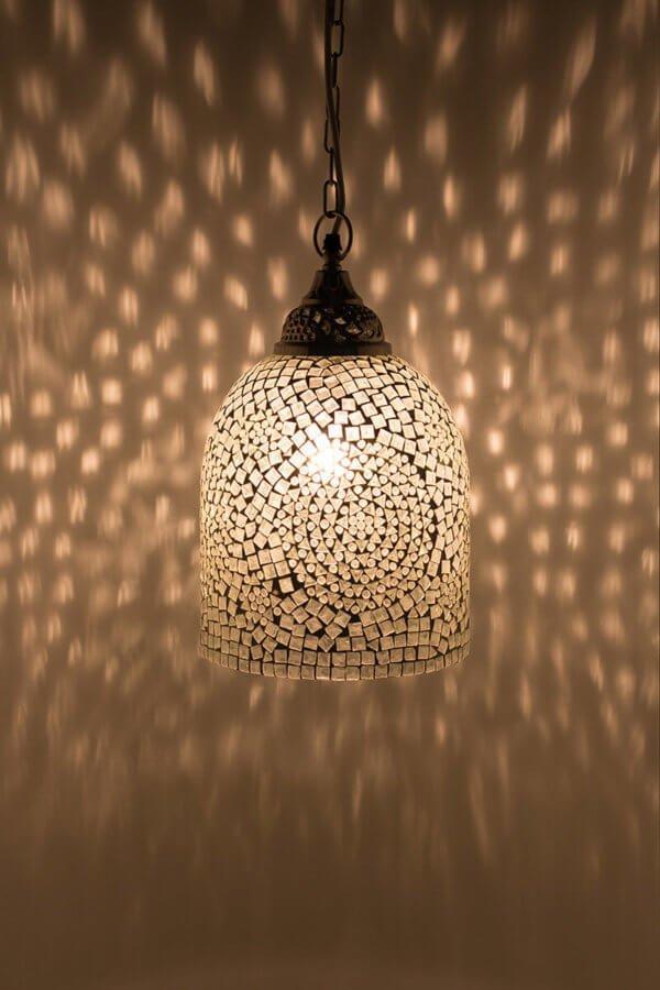 Mosaik Hängelampe Weiss Jaipur brennend