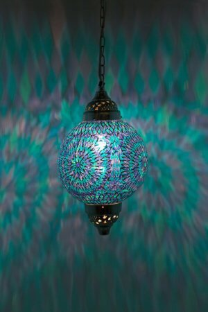 Mosaik Lampe Blau Mumbai brennend