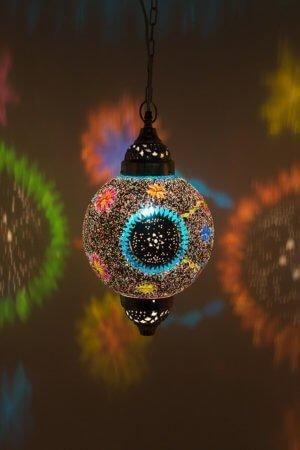 Mosaik Lampe Multicolour Mumbai Maroc brennend