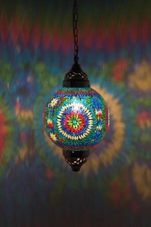Mosaik Lampe Multicolour Mumbai brennend