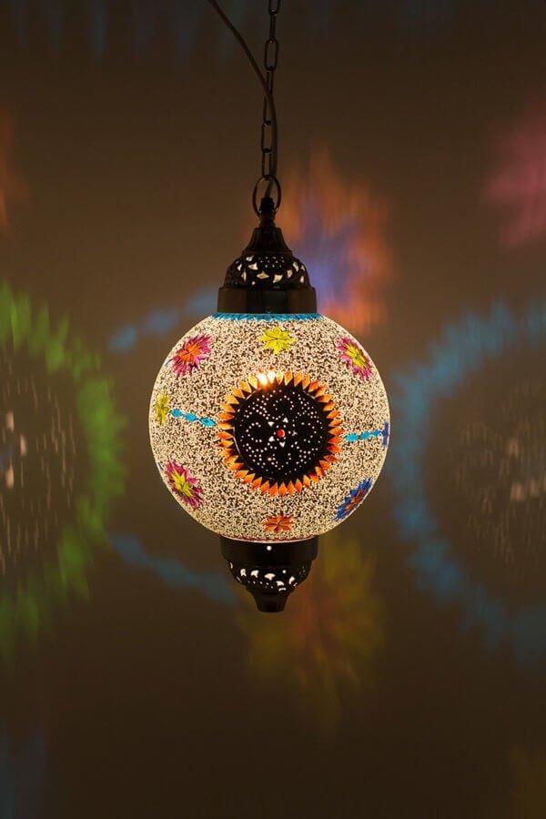 Mosaik Lampe Mumbai Multicolour Weiss Mumbai Maroc brennend
