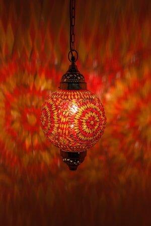 Mosaik Lampe Orange Mumbai brennend