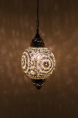 Mosaik Lampe Schwarz & Weiss Mumbai brennend