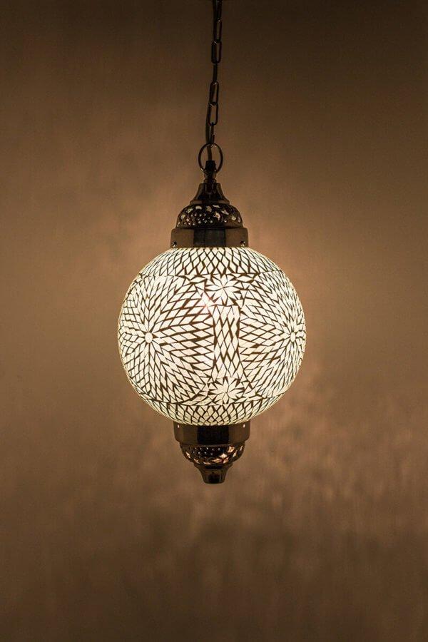 Mosaik Lampe Weiss Mumbai brennend