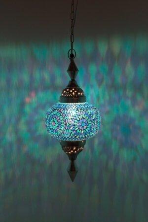Mosaik hängelampe Blau Gaya brennend