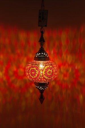 Mosaik hängelampe Orange Gaya brennend