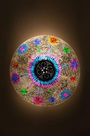Orientalische Deckenlampe Multicolour Weiss Maroc brennend