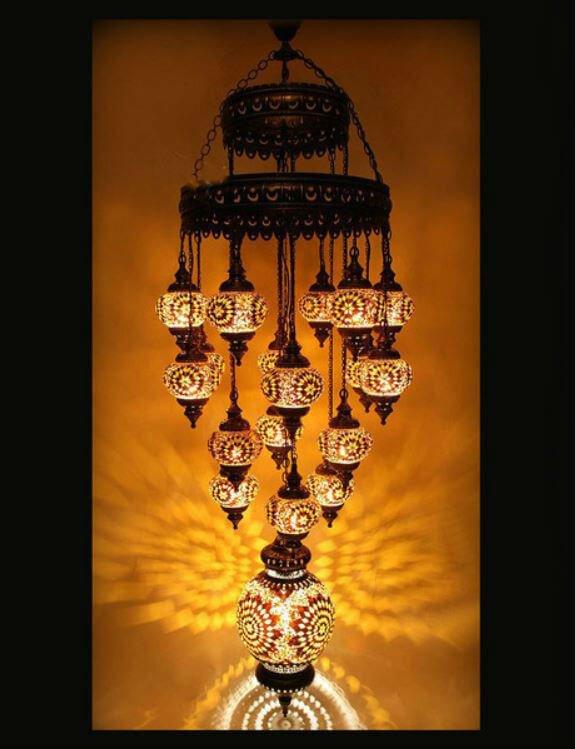 Türkische Lampe mit 19 Mosaikkugeln - Oriental Plaza