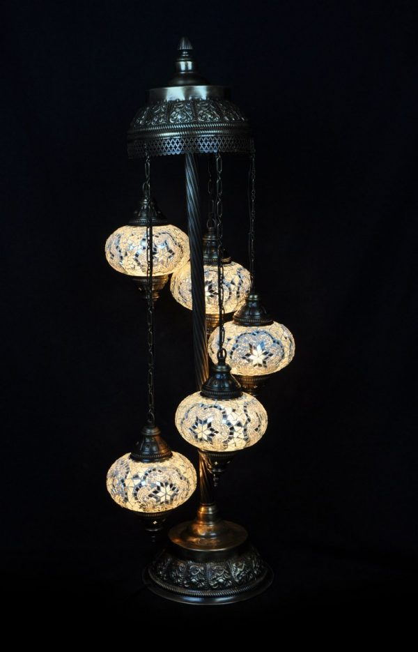 Orientalische Stehlampe Weiss 5 kugeln/ Türkische Stehlampe Weiss 5 kugeln - orientalplaza.de
