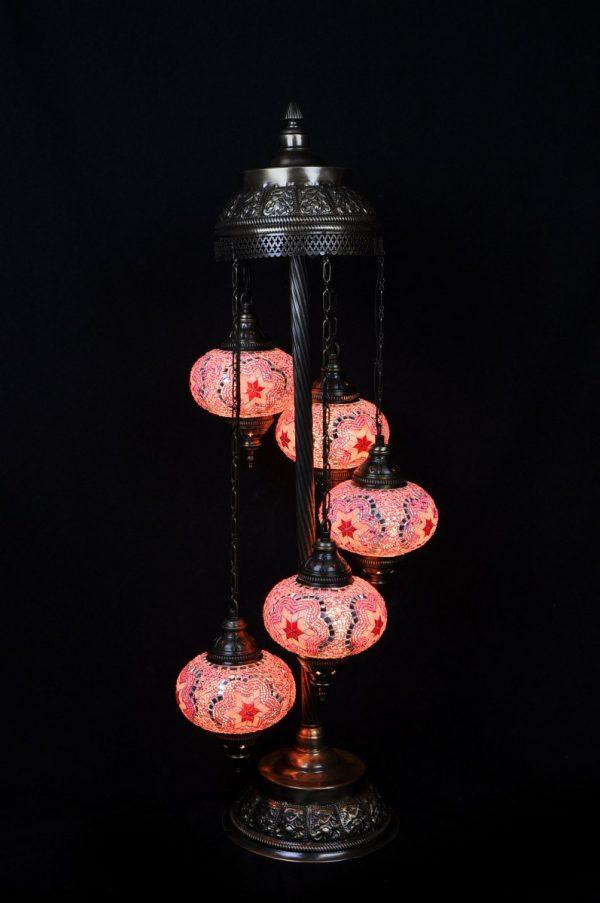 Orientalische Stehlampe Rosa 5 kugeln/ Türkische Stehlampe Rosa 5 kugeln - orientalplaza.de