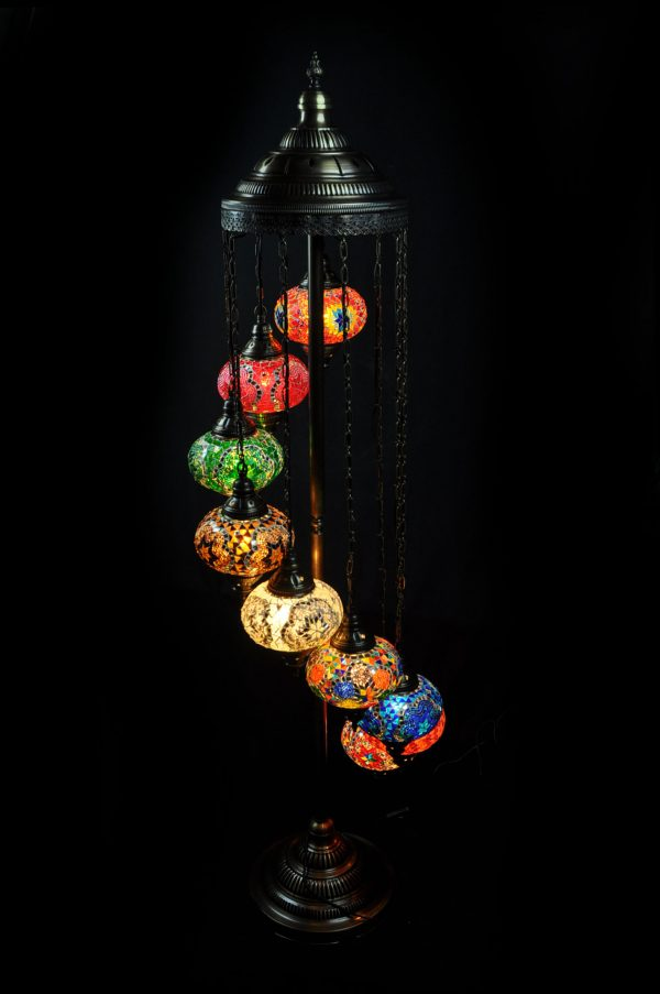 Orientalische Stehlampe Multicolour 7 kugeln/ Türkische Stehlampe Multicolour 7 kugeln - orientalplaza.de