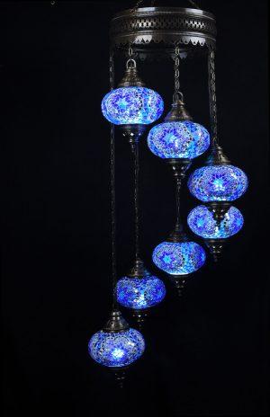 Türkische Lampe Blau 7 Kugeln - Oriental Plaza