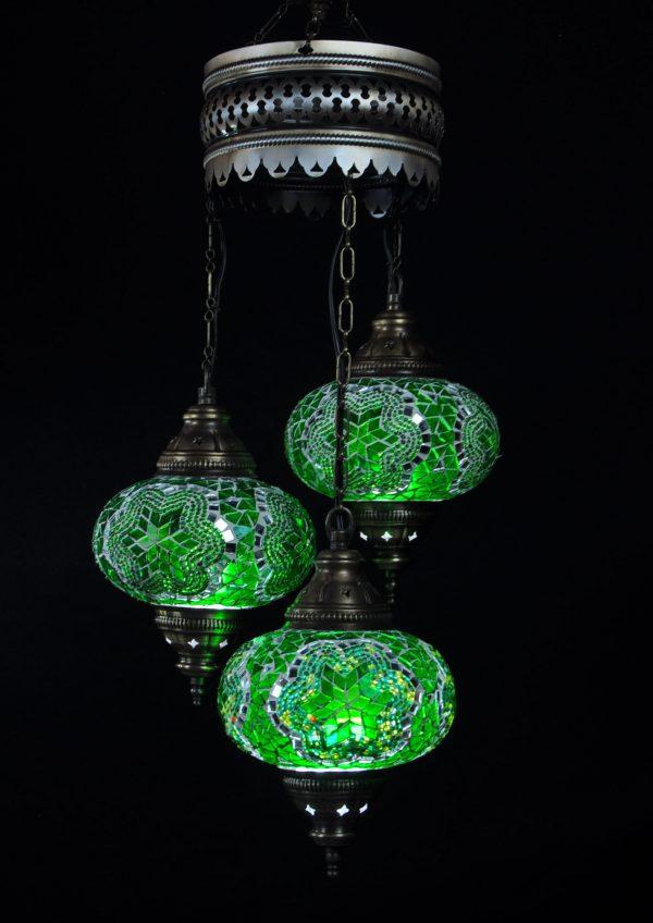 Türkische Lampe Grün 3 Kugeln - Oriental Plaza