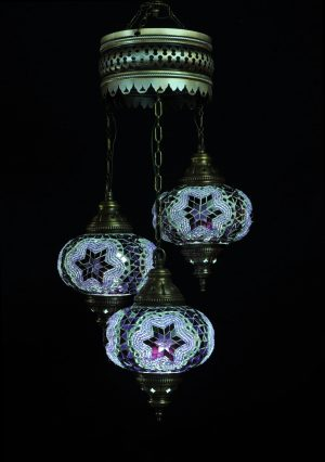 Türkische Lampe Lila 3 Kugeln - Oriental Plaza
