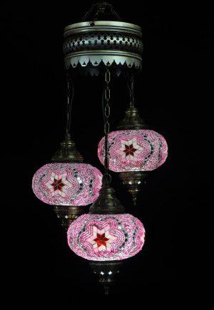 Türkische Lampe Rosa 3 Kugeln - Oriental Plaza