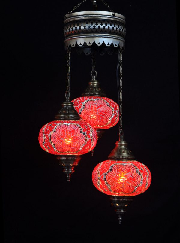 Türkische Lampe Rot 3 Kugeln - Oriental Plaza
