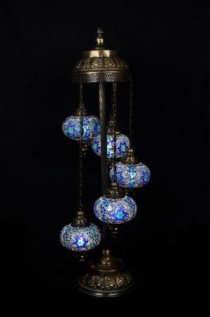 Orientalische Stehlampe Blau 5 kugeln/ Türkische Stehlampe Blau 5 kugeln - orientalplaza.de