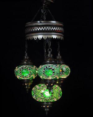 Türkische Lampe 4 Kugeln Grün - Oriental Plaza