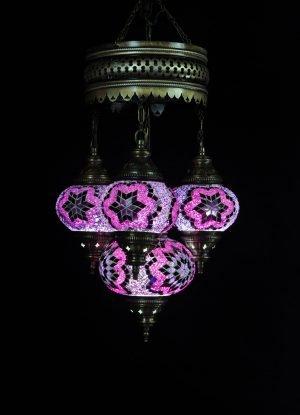Türkische Lampe 4 Kugeln Lila-Rosa - Oriental Plaza