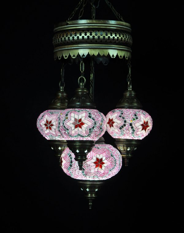 Türkische Lampe 4 Kugeln Rosa - Oriental Plaza