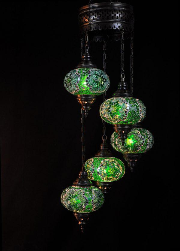 Türkische Lampe 5 Kugeln Grün - Oriental Plaza