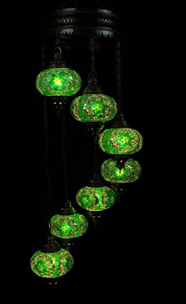 Türkische Lampe 7 Kugeln Grün - Oriental Plaza