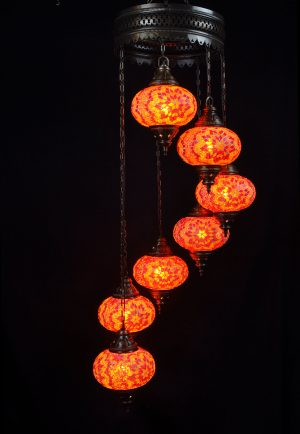 Türkische Lampe 7 Kugeln Orange - Oriental Plaza