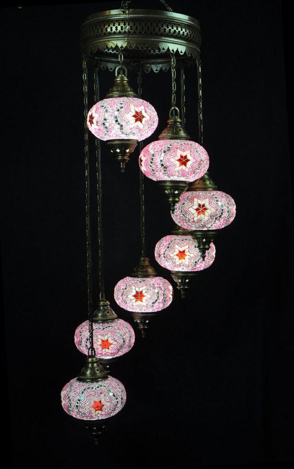 Türkische Lampe 7 Kugeln Rosa - Oriental Plaza