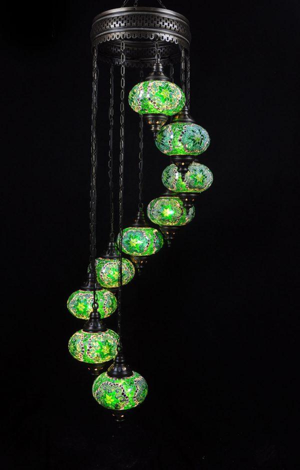 Türkische Lampe 9 Kugeln Grün - Oriental Plaza