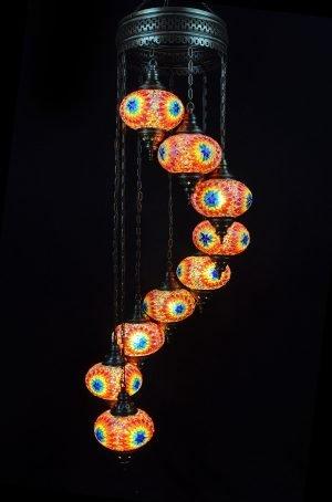 Türkische Lampe 9 Kugeln Multicolour - Oriental Plaza