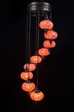 Türkische Lampe 9 Kugeln Orange - Oriental Plaza