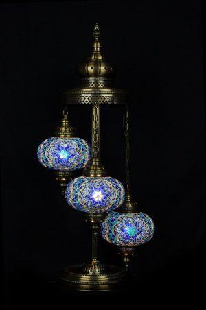 Orientalische Stehlampe Blau 3 kugeln/ Türkische Stehlampe Blau 3 kugeln - orientalplaza.de